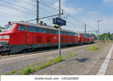 Itzehoe - View to Train Station and before the Hindenburg dam, which is not electrified, a diesel double header must replace, Schleswig-Holstein, Germany, 04.06.2019