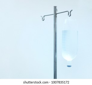 IV stand and IV fluid, Pillars of salt water and saline solution, IV pole and normal saline solution, White background