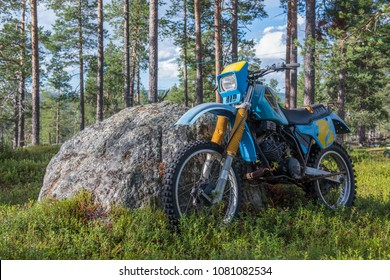 IVALO, FINLAND - 15 JULY 2017 :  a Yamaha motocross bike in the woods