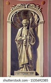 IVANIC GRAD, CROATIA - SEPTEMBER 25, 2011: Saint Thomas the Apostle, fresco in the church of the Saint Peter in Ivanic Grad, Croatia