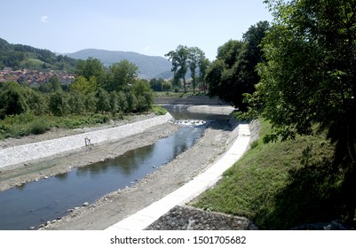 Ivanjica, Serbia / Republic of Serbia - August, 13th, 2019.: A small Moravica the river in Republic of Serbia. It is located in small town Ivanjica.