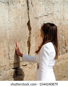 Ivanka Trump, Donald Trump and his family pray in front of the Wailing Wall. The Great Western Wall, located in Jerusalem and considered sacred by the Jews. Philistine, Israel 13.04.2018