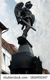 Ivano-Frankivsk cityscape with sculpture outdoor in Ukraine