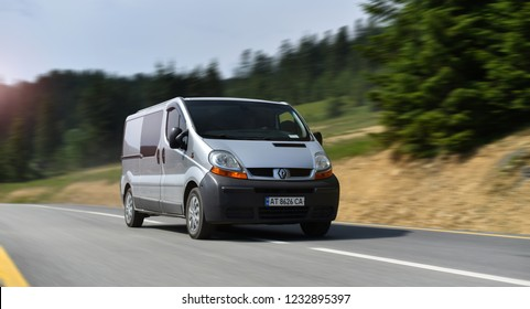 Ivano-Frankivsk / Ukraine - 06.02.18: delivery van Renault Trafic drive by mountain road