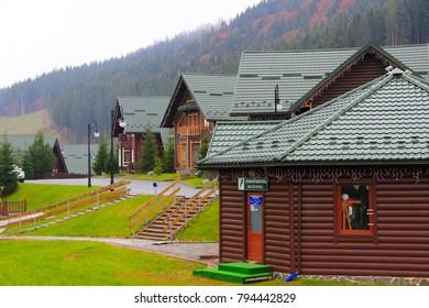 Ivano-Frankivsk / Ukraine - 24 October 2017 / Ukraine: beautiful modern houses in the Carpathian mountains of Bukovel resort in Ivano-Frankivsk region Ukraine. 24 October 2017 Ivano-Frankivsk, Ukraine