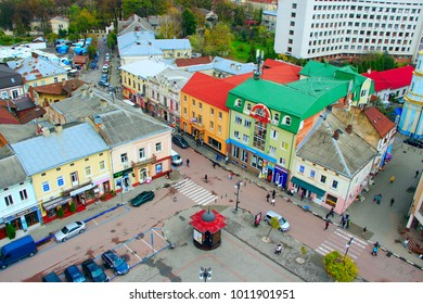 Ivano-Frankivsk / Ukraine - 28 October 2017 / Ukraine:view to Ivano-Frankivsk from a bird's eye view with blue sky on the background. Top view. 28 October 2017 Ivano-Frankivsk, Ukraine.