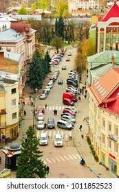 Ivano-Frankivsk / Ukraine - 29 October 2017 / Ukraine: view to Ivano-Frankivsk from a bird's eye view with cars parked on the street of the city. 29 October 2017 Ivano-Frankivsk, Ukraine.