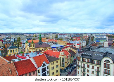 Ivano-Frankivsk / Ukraine - 29 October 2017 / Ukraine: view to Ivano-Frankivsk from a bird's eye view with blue sky on the background. Top view.  29 October 2017 Ivano-Frankivsk, Ukraine.