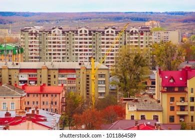 Ivano-Frankivsk / Ukraine - 29 October 2017 / Ukraine: densely populated area consisting of multi-storey houses in Ivano-Frankivsk. 29 October 2017 Ivano-Frankivsk, Ukraine.