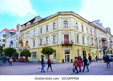 Ivano-Frankivsk / Ukraine - 29 October 2017 / Ukraine:people walk on the street in European town Ivano-Frankivsk Western Ukraine. Ivano-Frankivsk city views. 29 October 2017 Ivano-Frankivsk, Ukraine.