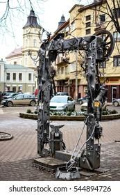 IVANO-FRANKIVSK, UKRAINE  - December 21, 2016: Forged iron product photo retro camera in center ukrainian city Ivano-Frankivsk.