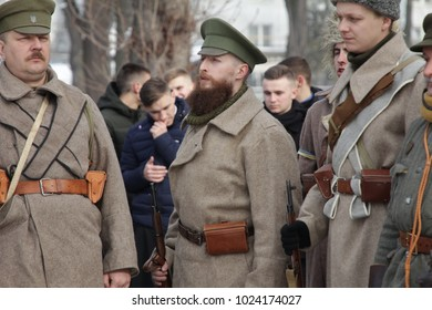 Ivano-Frankivsk, Ukraine - December 28th 2018: Reconstruction of the battle between the Red Army and the Ukrainian Army near the Kruty town.