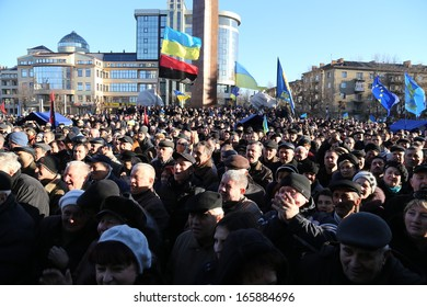 IVANO-FRANKIVSK, UKRAINE - DECEMBER,1  Mass meeting against Ukrainian government, President Yanukovych. For the European integration (Yevromaidan) on 1 December, 2013 in Ivano-Frankivsk, Ukraine.