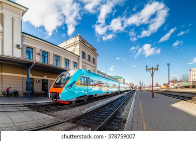 Ivano-Frankivsk, Ukraine - February 2016: Train at the railway station in Ivano-Frankivsk. One of oldest train station in Ukraine. Train at the station.