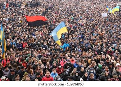 IVANO-FRANKIVSK, UKRAINE - February 25 , 2014: rally against the Ukrainian government, the Russian occupation, President Yanukovych. For European Integration (Yevromaidan)