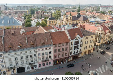 Ivano-Frankivsk, Ukraine - July 27, 2017: Panoramic view from Ivano-Frankivsk City Hall in the old city center. Old European city. Panorama of the city of Ivano-Frankivsk