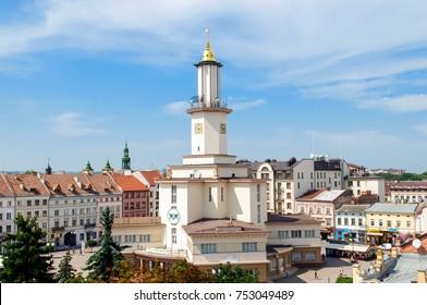 Ivano-Frankivsk / Ukraine - July 28 2014: View of city center and city hall tower of western ukrainian city Ivano-Frankivsk