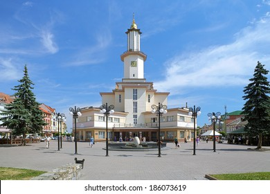 IVANO-FRANKIVSK, UKRAINE - JUNE 7, 2011: City Hall of Ivano-Frankivsk. It is the only City Hall Building in Ukraine in the Art Deco style was built in 1935 by design of architect Stanislaw Trela.