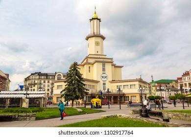 IVANO-FRANKIVSK, UKRAINE - JUNE 9, 2016: City Hall of Ivano-Frankivsk in a beautiful summer day, Ukraine on June 9, 2016