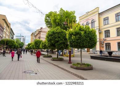 IVANO-FRANKIVSK, UKRAINE - JUNE 9, 2016: Ivano-Frankivsk in a beautiful summer day, Ukraine on June 9, 2016