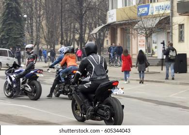 Ivano-Frankivsk,, Ukraine - March 8: Auto and moto festival in the main square, on March 8, 2016 in Ivano-Frankivsk, Ukraine.