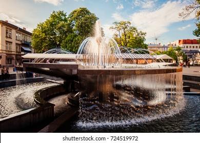 Ivano-Frankivsk, Ukraine - May 21, 2017:  Ivano-Frankivsk ,  fountain