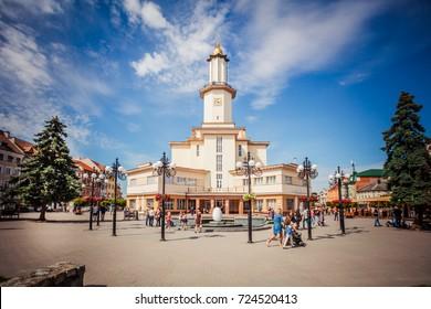 Ivano-Frankivsk, Ukraine - May 21, 2017: Ivano-Frankivsk city hall