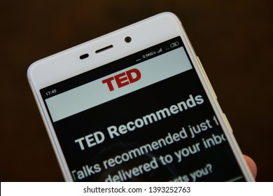 Ivano-Frankivsk, Ukraine - May 9, 2019: TED Conferences LLC (Technology, Entertainment, Design) logo on smartphone . TED website homepage. TED logo visible
