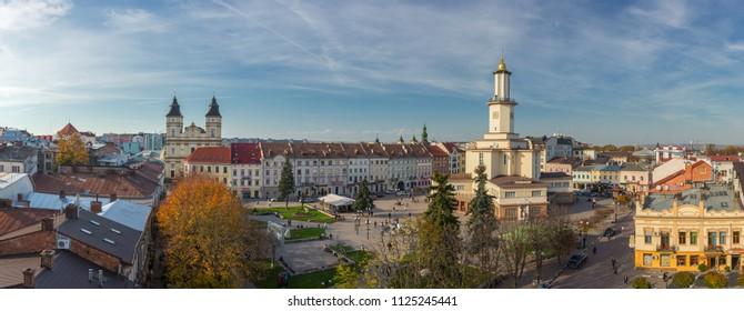 Ivano-Frankivsk, Ukraine - October 19, 2017: Panoramic view of Ivano Frankivsk city center in autumn