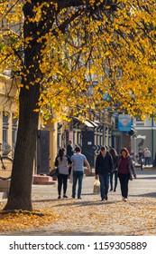 Ivano-Frankivsk, Ukraine - October 19, 2017: Ivano-Frankivsk in a beautiful autumn day, Ukraine