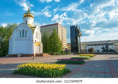 Ivanovo, Ivanovo oblast, Russia – 15.05.2018: Central area goroda Ivanova – Revolution square 15.05.2018 year in Ivanovo, Ivanovo oblast, Russia.