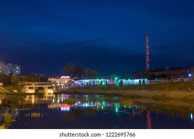 Ivanovo, Russia - 09/02/2018: A quiet autumn evening on the River Uvud on September 2, 2018, Ivanovo, Russia.
