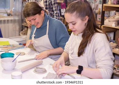 Ivanovo, Russia, January 29, 2021, a girls are engaged in a master class in clay and ceramics