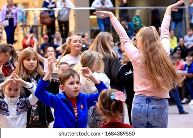 Ivanovo / Russia- September 2019: children of different ages have fun at a holiday in the shopping center.