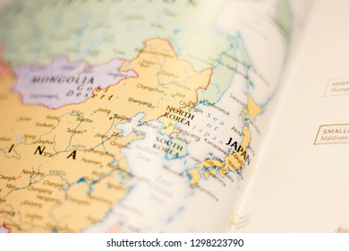 Ivanovsk, Russia - January 24, 2019: North Korea on the map of the world.