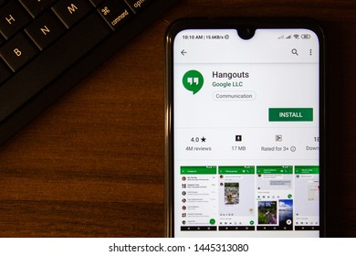Ivanovsk, Russia - July 07, 2019: Hangouts app on the display of smartphone or tablet