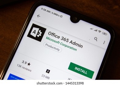 Ivanovsk, Russia - July 07, 2019: Office 365 Admin app on the display of smartphone or tablet
