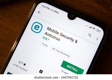 Ivanovsk, Russia - July 07, 2019: Mobile Security and Antivirus from ESET app on the display of smartphone or tablet