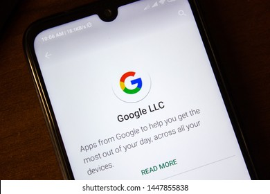 Ivanovsk, Russia - July 07, 2019: Google LLC logo on the display of smartphone or tablet