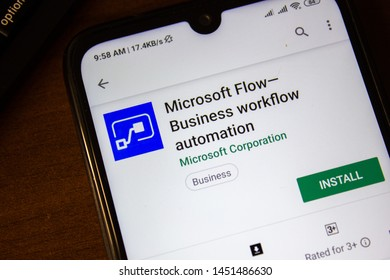 Ivanovsk, Russia - July 07, 2019: Microsoft Flow - Business workflow automation app on the display of smartphone or tablet