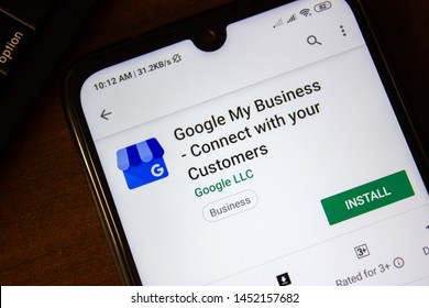 Ivanovsk, Russia - July 07, 2019: Google My Business - Connect with your Customers app on the display of smartphone or tablet