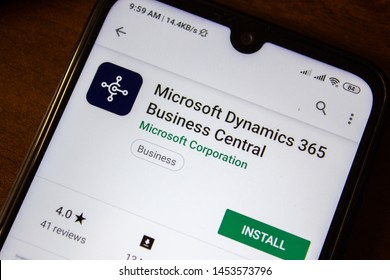 Ivanovsk, Russia - July 07, 2019: Microsoft Dynamics 365 Business Central app on the display of smartphone or tablet