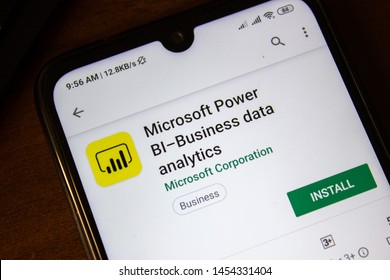 Ivanovsk, Russia - July 07, 2019: Microsoft Power Bi-Business data analytics app on the display of smartphone or tablet