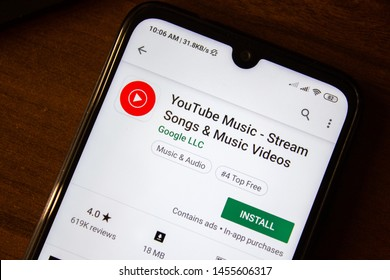Ivanovsk, Russia - July 07, 2019: Youtube Music - Stream Songs and Music Videos app on the display of smartphone or tablet