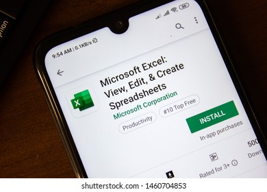 Ivanovsk, Russia - July 07, 2019: Microsoft Exel app on the display of smartphone or tablet