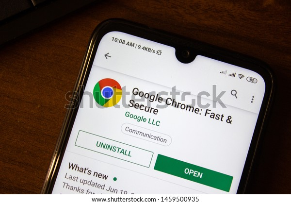 Ivanovsk, Russia - July 07, 2019: Google Chrome - Fast and Secure app on the display of smartphone or tablet