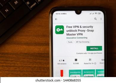 Ivanovsk, Russia - June 26, 2019: Free VPN & security unblock Proxy - Snap Master VPN app on the display of smartphone or tablet.