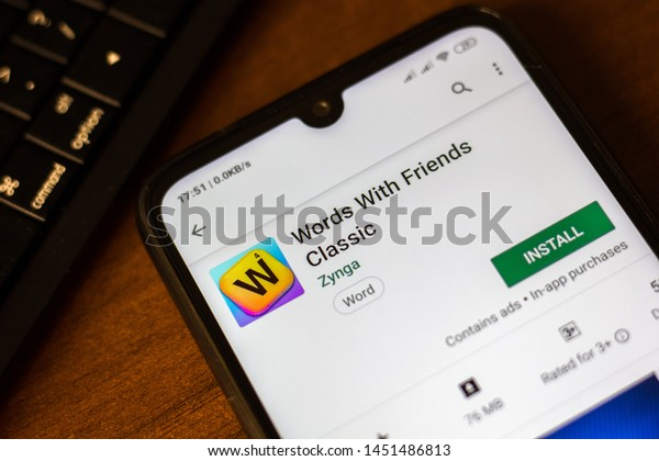 Ivanovsk, Russia - June 26, 2019: Words With Friends Classic app on the display of smartphone or tablet.