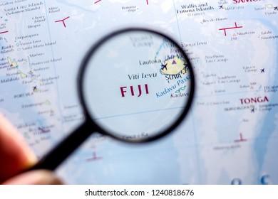 Ivanovsk, Russia - November 24, 2018: Fiji on the map of the world.