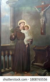 IVANSKA, CROATIA - OCTOBER 03, 2011: St. Anthony of Padua with baby Jesus, St. John the Baptist Church in Ivanska, Croatia